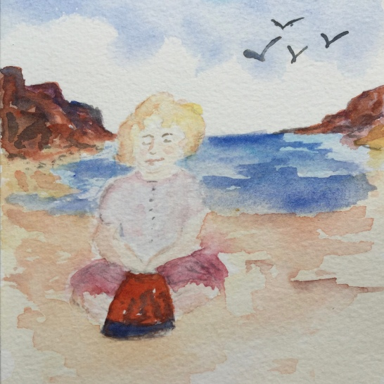 A painting of me playing on the sand at a beach called Sea Mill in Scotland West Renfrewshire. I loved that red bucket…how did she know?